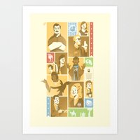 parks and rec Art Prints featuring Parks & Rec - Dammit Jerry! Edition by Florey