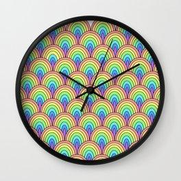 rainbow scallop pattern Wall Clock