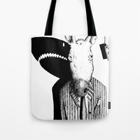 sharks Tote Bags featuring Sharks by Antony Griffiths