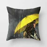 train Throw Pillows featuring All Upon the Downtown Train by Alice X. Zhang