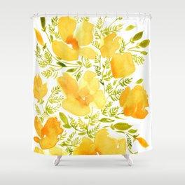 Watercolor California poppies (Quad set, #2) Shower Curtain