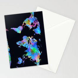 world map watercolor black Stationery Cards