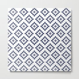 White & Blue Aztec  Metal Print