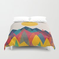 retro Duvet Covers featuring Uphill Battle by Picomodi