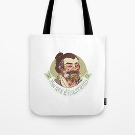 Man Buns and Flower Beards Tote Bag