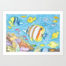 Crayon Fish #2 Art Print