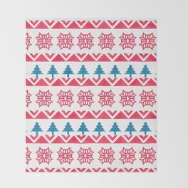 Colorful pink blue watercolor scandinavian pattern Throw Blanket