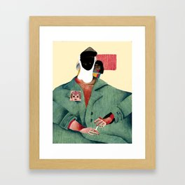 Seated Figure with Pin and Flag Framed Art Print