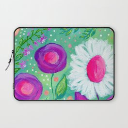 White Flowers, Purple Flowers, Floral Painting for Girl, Nursery Decor, Green, Blue, Coral Art Laptop Sleeve