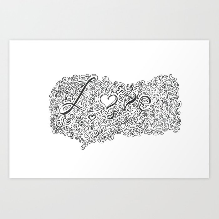 Love Line Drawing Art Print