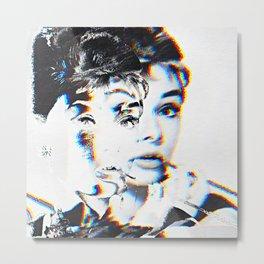 Audrey Hepburn Glitch Metal Print