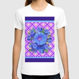 Blue & Purple Morning Glories Pattern Art T-shirt