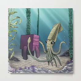 Pink Cube Travel #2 Meeting squid under the sea Metal Print