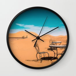 garden furniture in desert Wall Clock