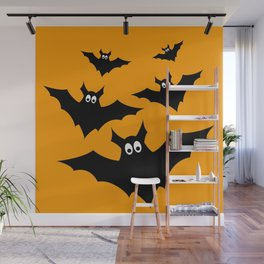 Cool cute Black Flying bats Halloween Wall Mural