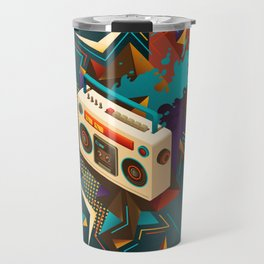 Bust Out The Jams Retro 80s Boombox Splash Travel Mug