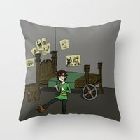 hiccup Throw Pillows featuring Hiccup Adjustments by Gio Garcia