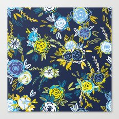 Flower Garden in Navy Neon Canvas Print