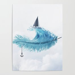 Water Feather • Blue Feather (horizontal) Poster