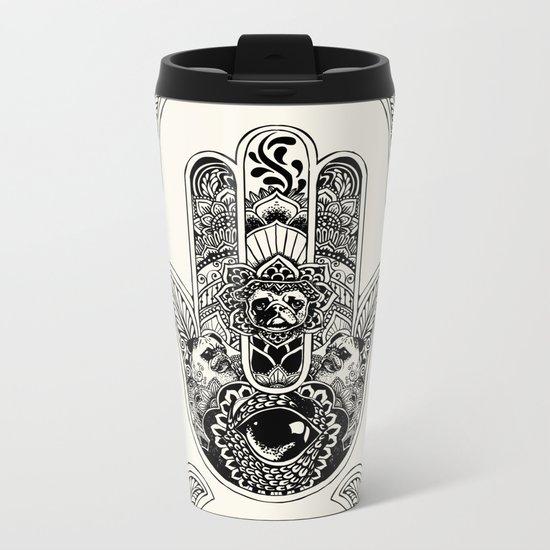 Hamsa Hand Pug Metal Travel Mug