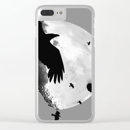 A Murder Of Crows Flying Across The Moon Clear iPhone Case