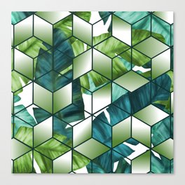 Tropical Cubic Effect Banana Leaves Design Canvas Print