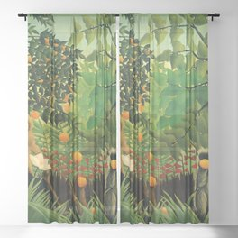"Henri Rousseau ""Monkeys in the jungle - Exotic landscape"" Sheer Curtain"