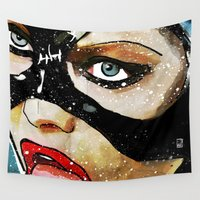 catwoman Wall Tapestries featuring Catwoman by Ed Pires