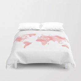 Pink Shiny Metal Foil Rose Gold World Map Duvet Cover
