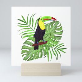 tropical bouquet with toucan Mini Art Print