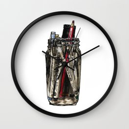 Mason Jar With Pens Wall Clock