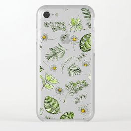 Scattered Garden Herbs Clear iPhone Case