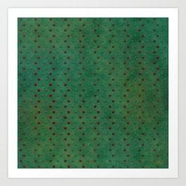 """Porstroke, Teal Shade Pattern & Red polka dots"" Art Print"