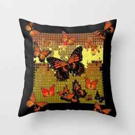 Abstracted Black & Orange Monarch Butterflies Throw Pillow