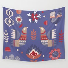 BIRDS AND FLOWERS Wall Tapestry