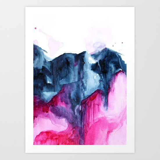 Abstract Indigo Mountains 2 Art Print