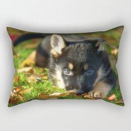 Cute 8 weeks old shepherd puppy Rectangular Pillow