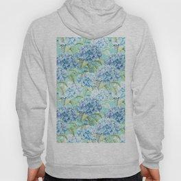 Blue floral hydrangea flower flowers Vintage watercolor pattern Hoody