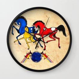 Navajo Horse Family Wall Clock