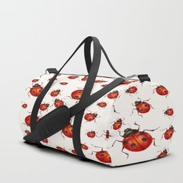 LOVING RED LADY BUGS  ON WHITE COLOR DESIGN ART Duffle Bag
