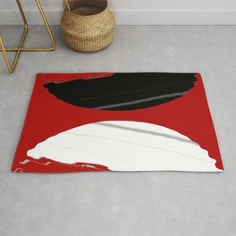 red black white grey abstract digital painting Rug