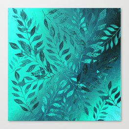 Monochrome Leaf Arrangement (Teal) Canvas Print