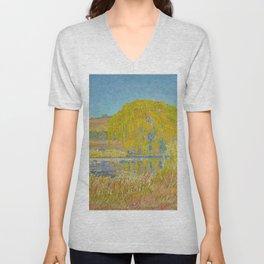 Willow Tree & Tidal Basin Sunrise landscape painting by J.H. Pierneef Unisex V-Neck