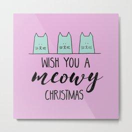Meowy Christmas Pink Metal Print
