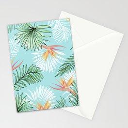 Tropic Palm, Bird of Paradise Pastel Colorful Botanical Illustration, Tropical Bohemian Jungle Stationery Cards