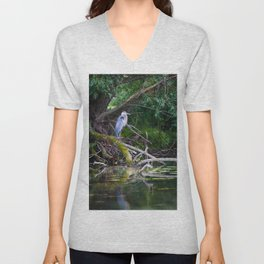 Heron under the tree Unisex V-Neck