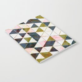 Marble Triangle Tiles in Green Gold  Notebook