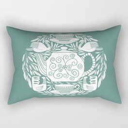 Tea Lovers Folk Art // Hand Drawn Teapot, Teacups, and Tea Leaves with Intricate Patterns Rectangular Pillow
