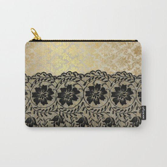 Black floral luxury lace on gold damask pattern Carry-All Pouch