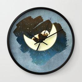 Sleeping Panda on the Moon Wall Clock
